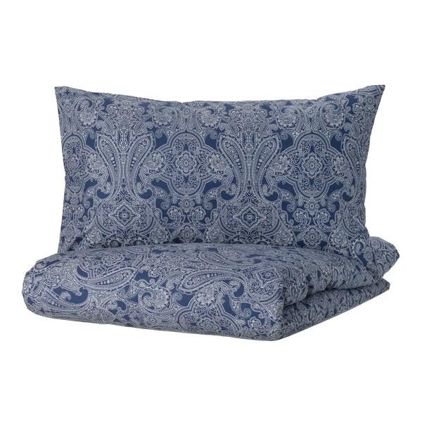 JÄTTEVALLMO Funda nórdica con funda de almohada, azul oscuro/blanco, Matrimonial/queen