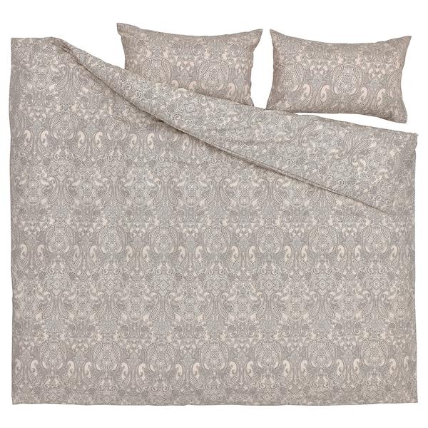 JÄTTEVALLMO Funda nórdica con funda de almohada, beige/gris oscuro, Matrimonial/queen