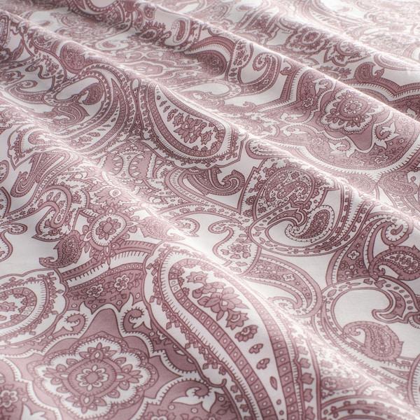 JÄTTEVALLMO Funda nórdica con funda de almohada, blanco/rosa oscuro, Matrimonial/queen
