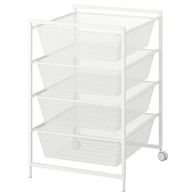 JONAXEL Estructura con canasta y ruedas, blanco, 50x51x73 cm