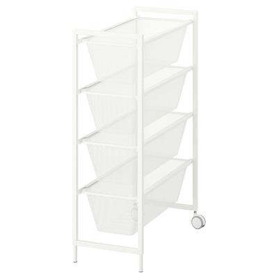 JONAXEL Estructura con canasta y ruedas, blanco, 25x51x73 cm