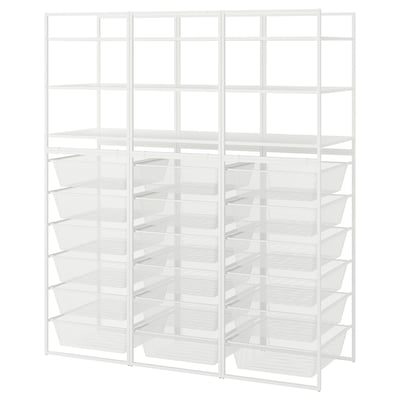 JONAXEL Estructura con canastas y estante, blanco, 148x51x173 cm