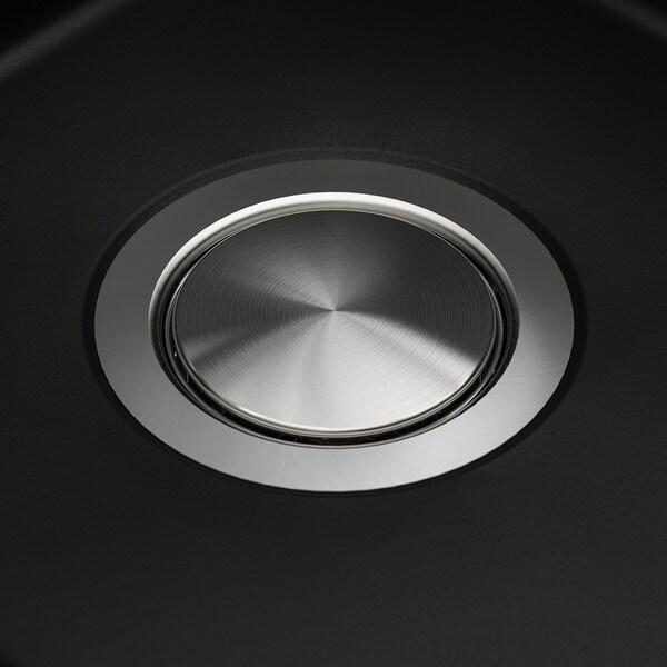 KILSVIKEN Fregadero empotrado 1 tarja, negro compuesto de cuarzo, 72x46 cm