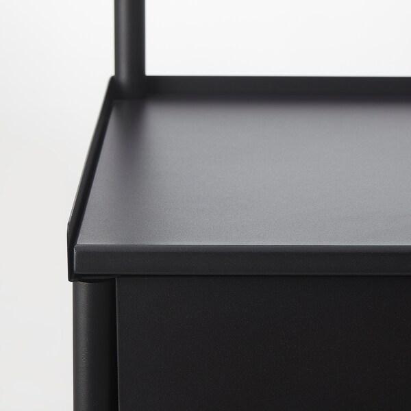 KORNSJÖ Gabinete con espejo, negro, 70x47 cm