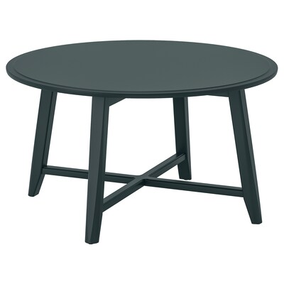 KRAGSTA Mesa de centro, azul oscuro verdoso, 90 cm