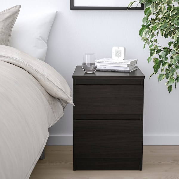 KULLEN Cómoda de 2 cajones, negro-café, 35x49 cm