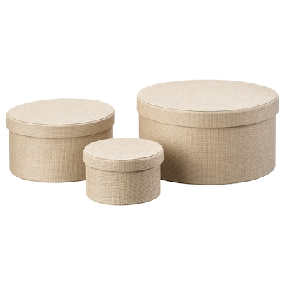 KVARNVIK Caja para almacenaje 3 piezas, beige