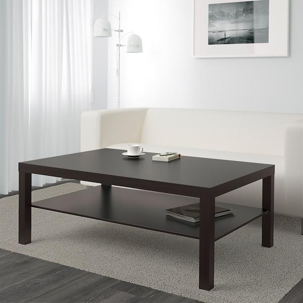 LACK Mesa de centro, negro-café, 118x78 cm