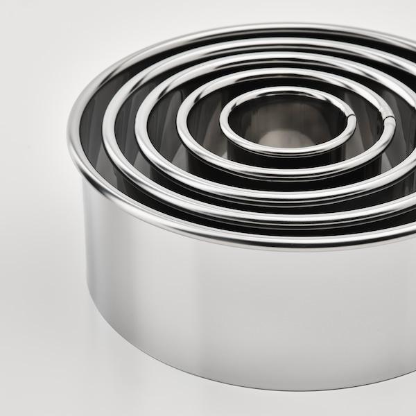 LÄTTBAKAD Molde para galletas, 5 piezas, color plateado