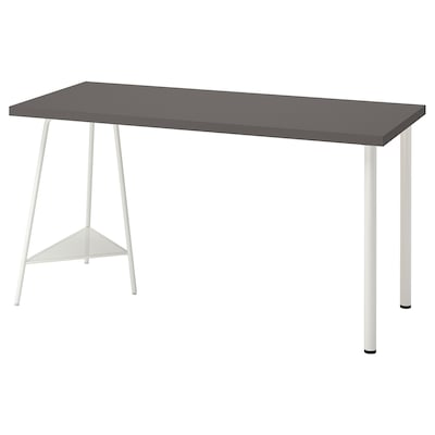 LAGKAPTEN / TILLSLAG Escritorio, gris oscuro/blanco, 140x60 cm