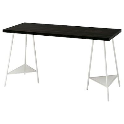 LAGKAPTEN / TILLSLAG Escritorio, negro-café/blanco, 140x60 cm