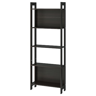 LAIVA Librero, negro-café, 62x165 cm