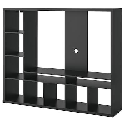 LAPPLAND Mueble de TV, negro-café, 183x39x147 cm