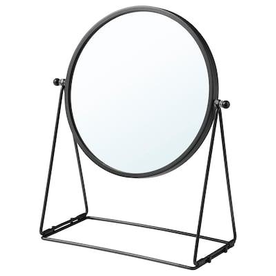 LASSBYN Espejo de mesa, gris oscuro, 17 cm