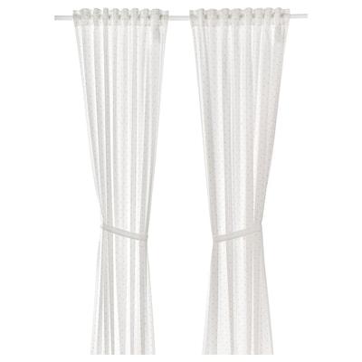 LEN Cortinas con alzapaños, 1 par, lunares/blanco, 120x250 cm