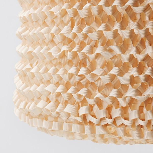 LERGRYN Pantalla para lámpara, tejido beige/a mano, 42 cm