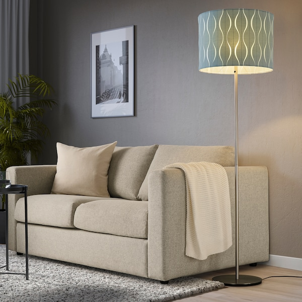 LÖKNÄS Pantalla para lámpara, azul/ plateado, 42 cm