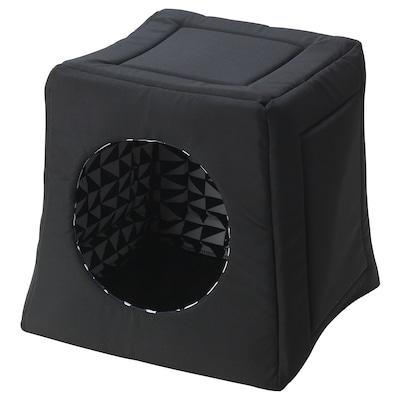 LURVIG Escondite de cama para gatos, negro/blanco, 38x38x37 cm