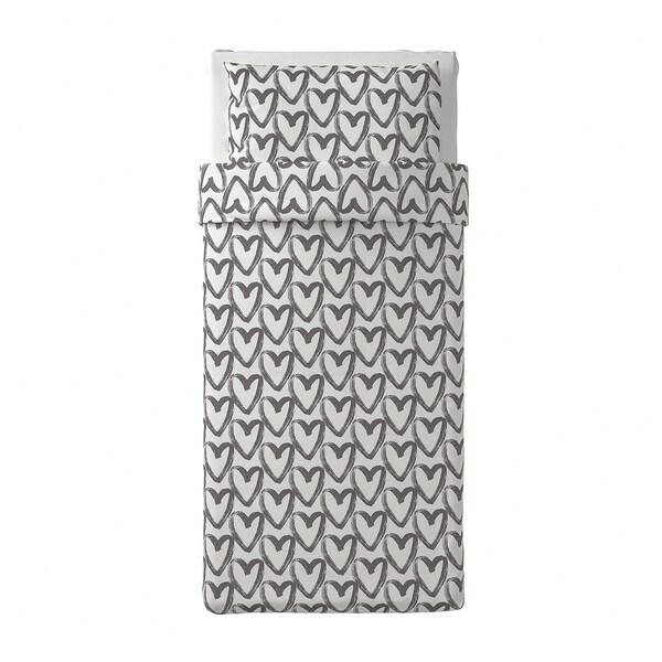LYKTFIBBLA Funda nórdica con funda de almohada, blanco/gris, Individual