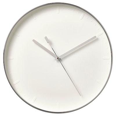 MALLHOPPA Reloj de pared, color plateado, 35 cm