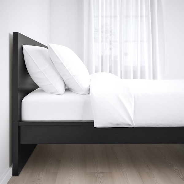 MALM Base de cama, alta, negro-café, Individual