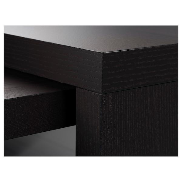 MALM Escritorio con tablero extraíble, negro-café, 151x65 cm