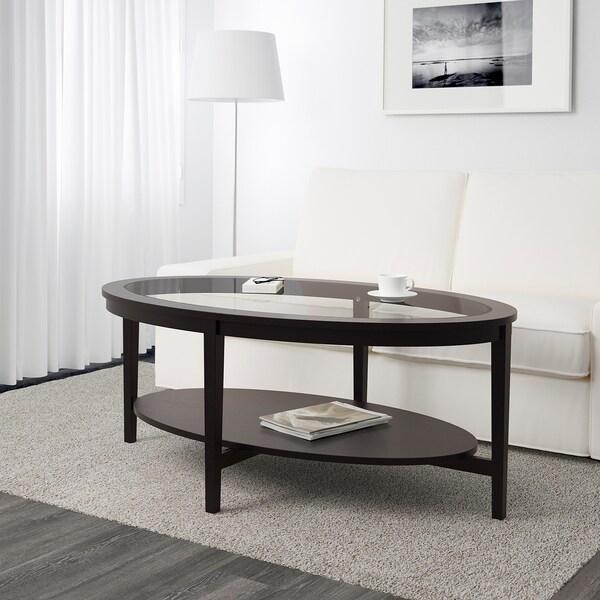 MALMSTA Mesa de centro, negro-café, 130x80 cm