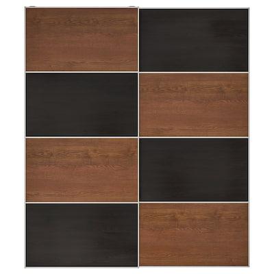 MEHAMN Par de puertas corredizas, efecto fresno tinte negro-marrón/efecto fresno tinte marrón, 200x236 cm