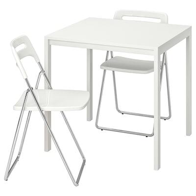 MELLTORP / NISSE Mesa y 2 sillas plegables, blanco/blanco, 75 cm
