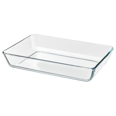 MIXTUR Fuente de servir para horno, vidrio incoloro, 35x25 cm