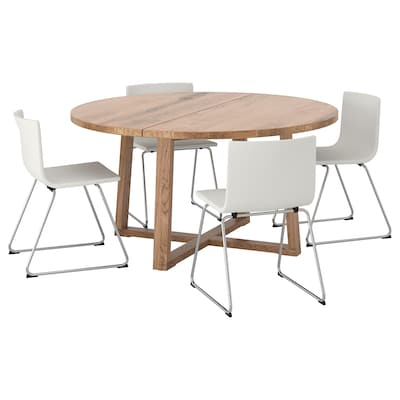 MÖRBYLÅNGA / BERNHARD Mesa y 4 sillas, chapa roble tinte café/Mjuk blanco, 145 cm