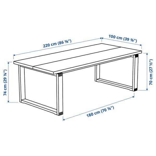 MÖRBYLÅNGA / VOLFGANG Mesa y 6 sillas, café/Gunnared gris intermedio, 220x100 cm