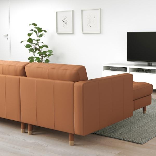 MORABO Sofá 4 asientos, +chaiselongue/Grann/Bomstad marrón dorado/madera