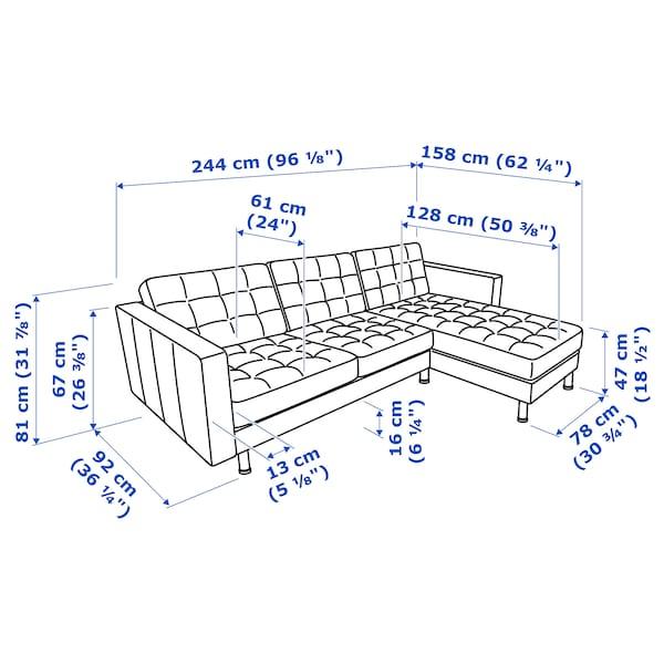 MORABO Sofá con 3 asientos, +chaiselongue/Gunnared verde claro/metal