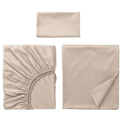 NATTJASMIN Juego de sábanas, beige claro, Individual