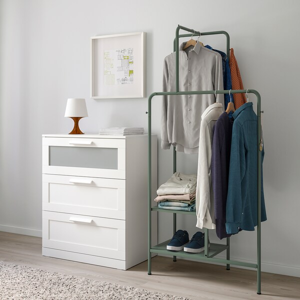 NIKKEBY Soporte para ropa, verde grisáceo, 80x170 cm