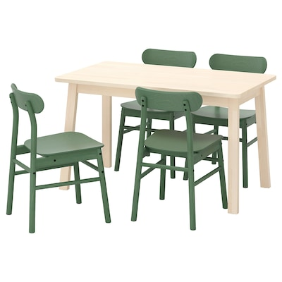 NORRÅKER / RÖNNINGE Mesa y 4 sillas, abedul/verde, 125x74 cm