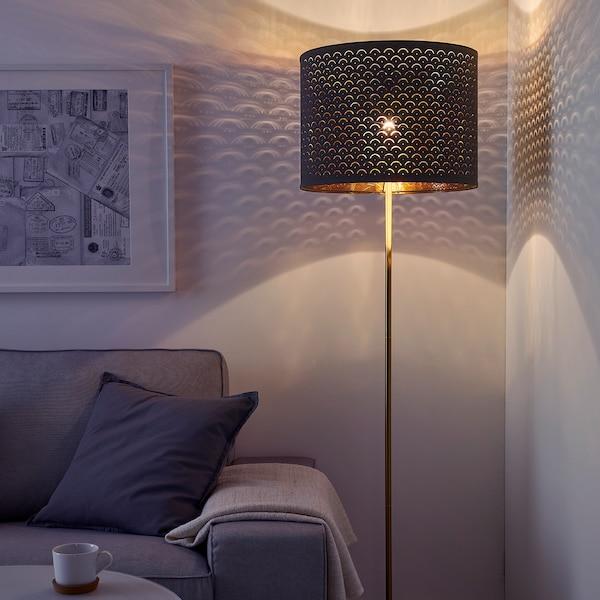 NYMÖ Pantalla para lámpara, negro/dorado, 44 cm