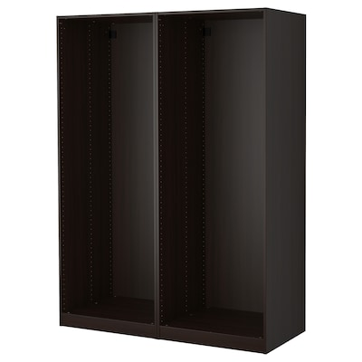 PAX 2 estructuras de clóset, negro-café, 150x58x201 cm