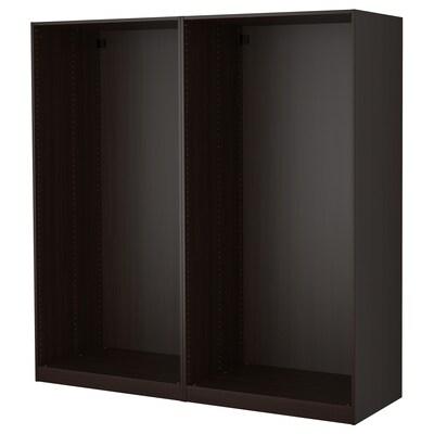 PAX 2 estructuras de clóset, negro-café, 200x58x201 cm