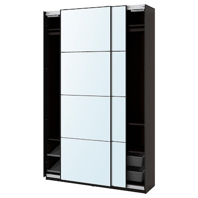 PAX / AULI Combinación de clóset, negro-café/espejo, 150x44x236 cm