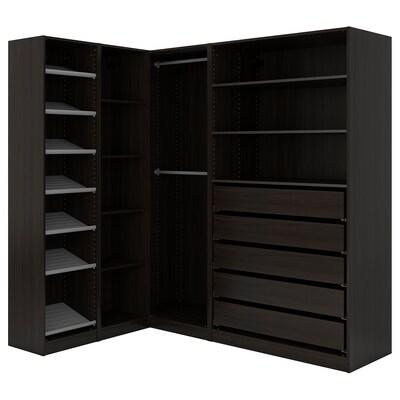 PAX Clóset de esquina, negro-café, 160/188x201 cm