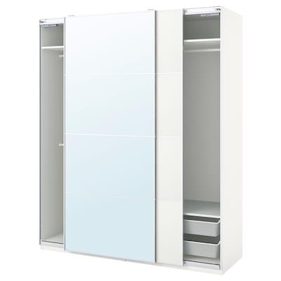 PAX / MEHAMN/AULI Combinación de clóset, blanco/espejo, 200x66x236 cm