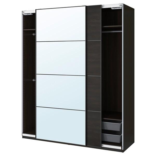PAX / MEHAMN/AULI Combinación de clóset, negro-café/espejo, 200x66x236 cm