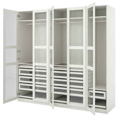 PAX / TYSSEDAL Combinación de clóset, blanco/blanco vidrio, 250x60x236 cm
