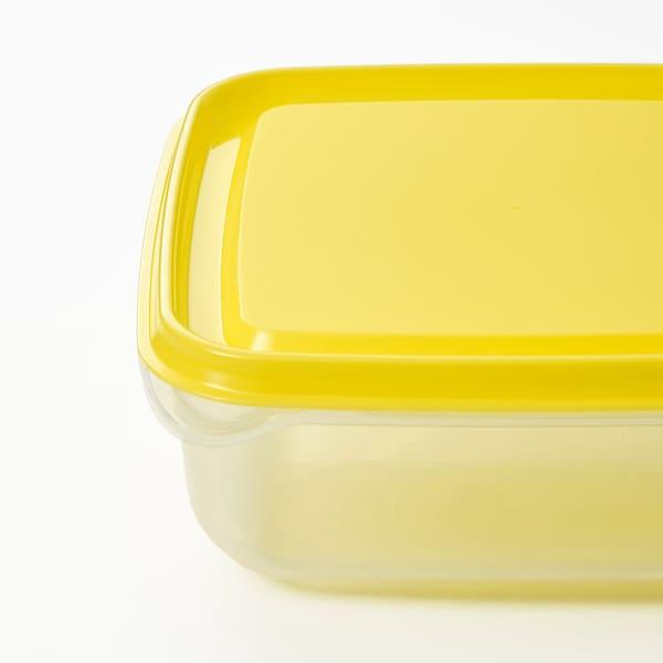 PRUTA Recipiente de alimentos con tapa, transparente/amarillo, 0.6 l