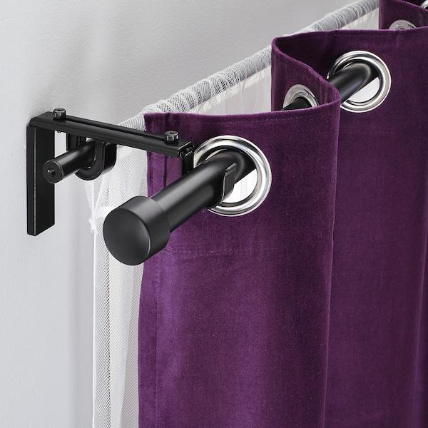 RÄCKA / HUGAD Combinación barra p/cortina doble, negro, 120-210 cm