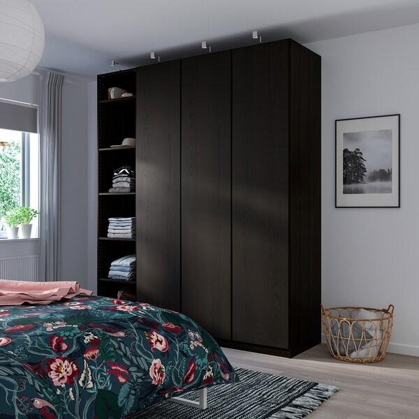 REPVÅG Puerta con bisagras, chapa roble tinte negro-marrón, 50x229 cm