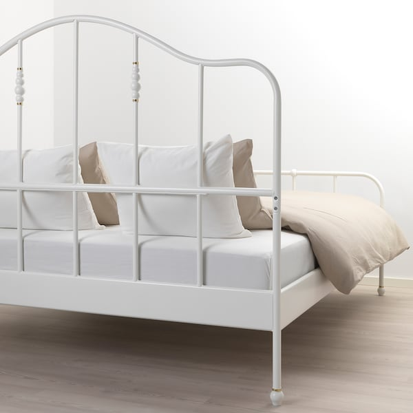 SAGSTUA Base de cama, blanco/Luröy, Queen