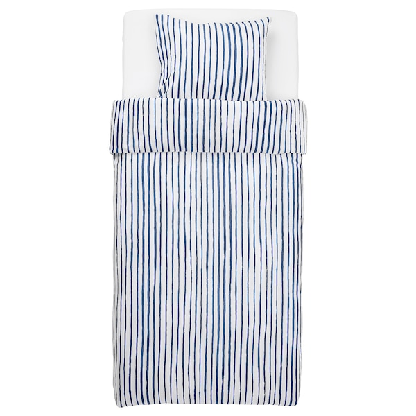 SÅNGLÄRKA Funda nórdica y funda de almohada, rayas/azul blanco, Individual